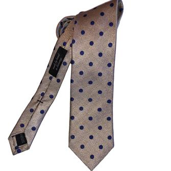 Ascot beige stippen stropdas