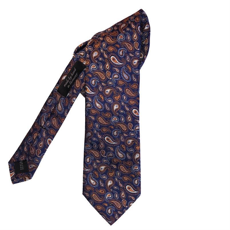 Ascot blauwe paisley stropdas