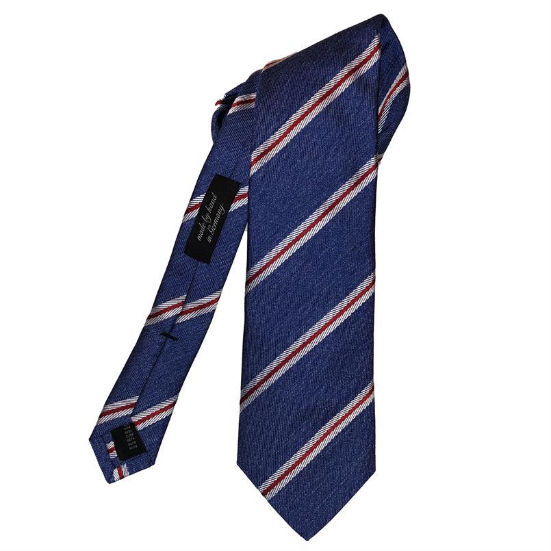 Ascot blauwe streep stropdas