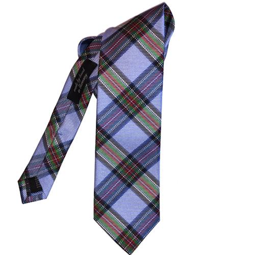 Ascot lichtblauwe tartan stropdas