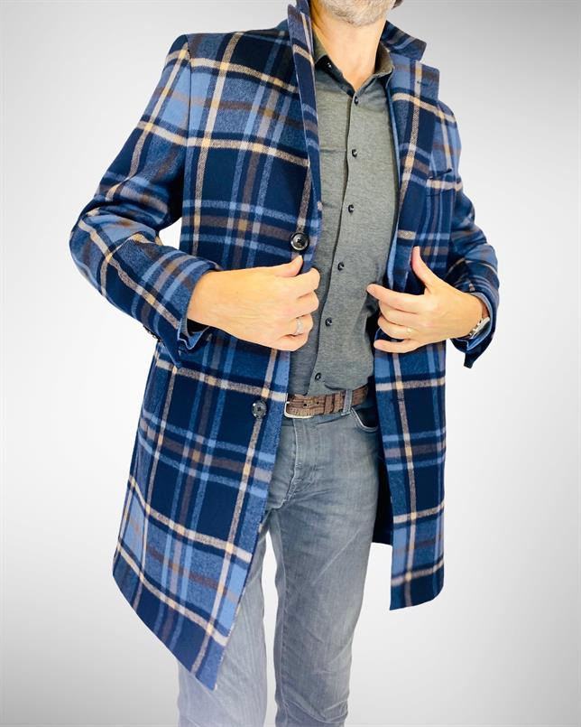 DAKS blue blown-up check overcoat
