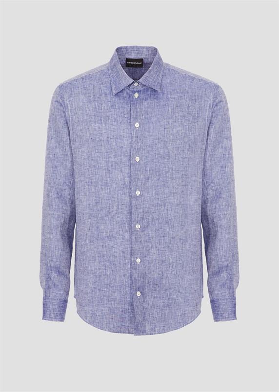 Emporio Armani Blauw linnen overhemd lange mouw