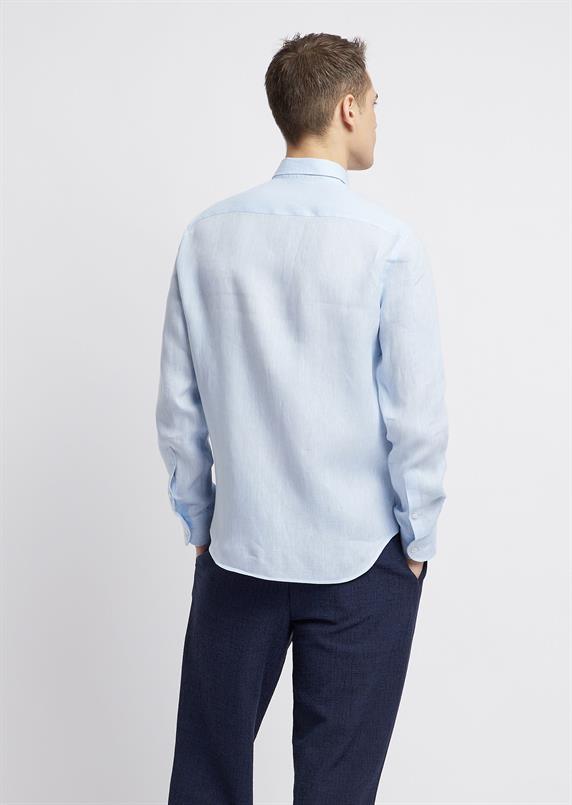 Emporio Armani Lichtblauw linnen overhemd lange mouw