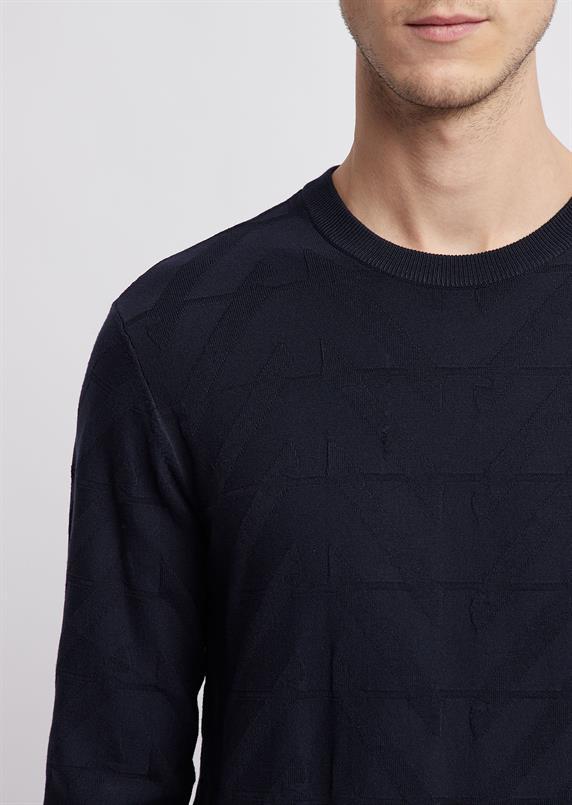 Emporio Armani Ronde hals trui met geometrische jacquard knit