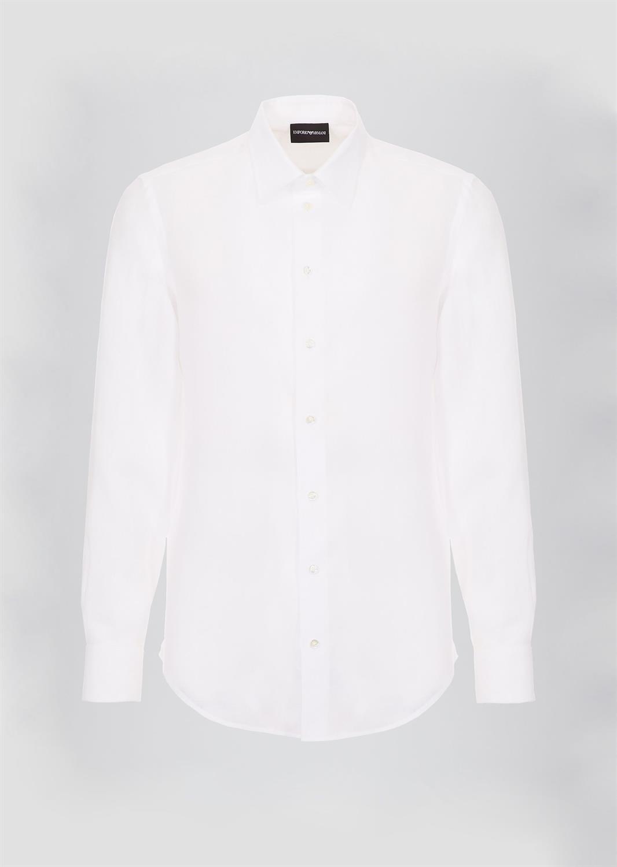 Wit Linnen Overhemd Korte Mouw.21sm0l