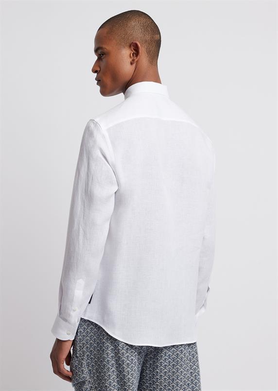 Emporio Armani Wit linnen overhemd lange mouw