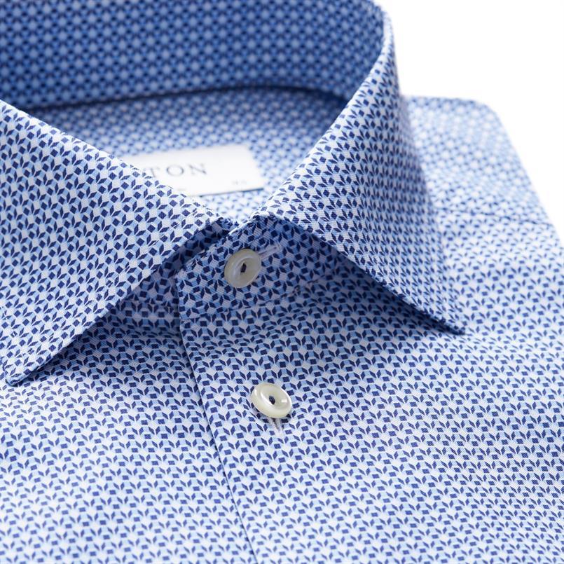 ETON blauw diamond hemd