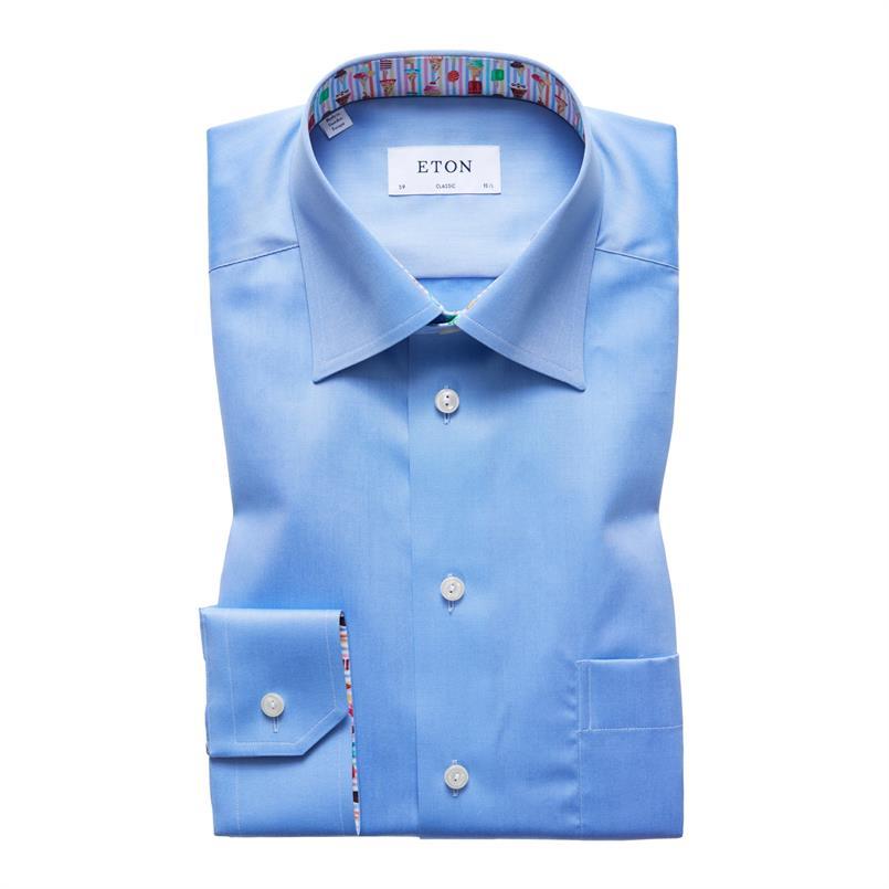 ETON blauw hemd met ijshoorntjes details