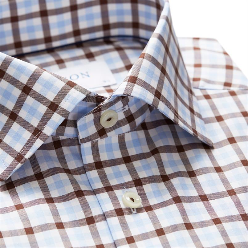 ETON bruin geruit hemd