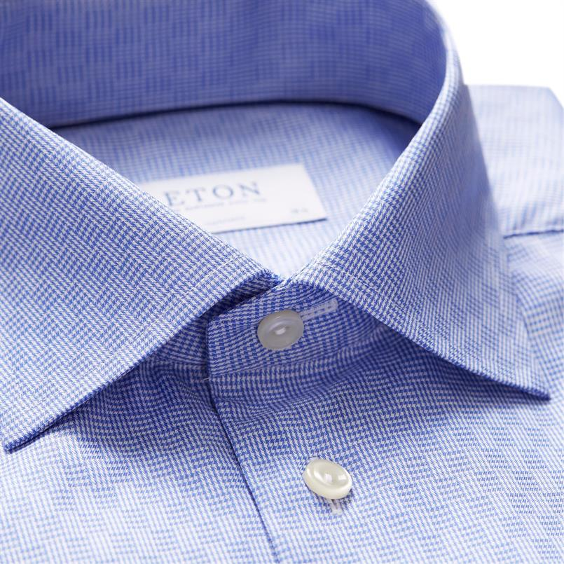 ETON lichtblauw checkers motief hemd