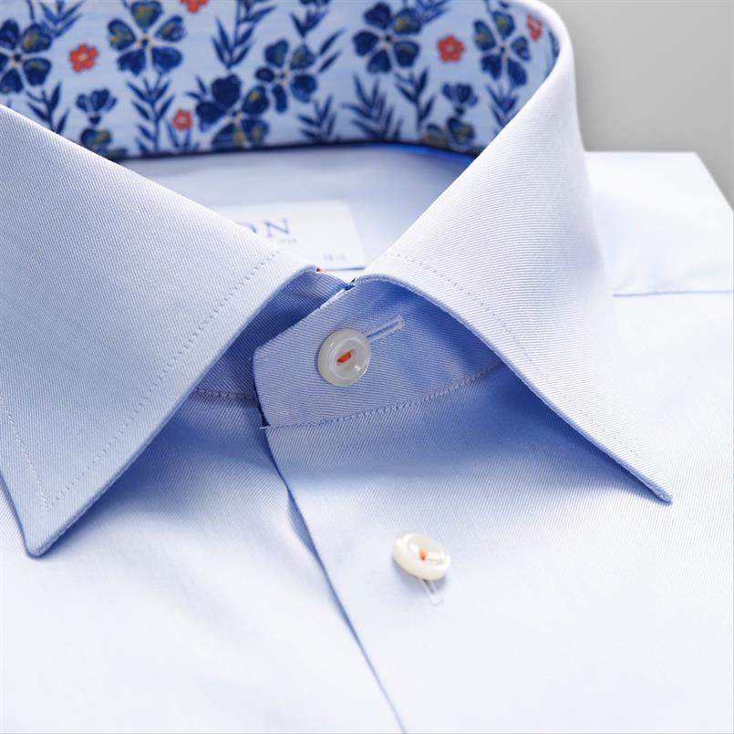 ETON lichtblauw twill hemd met bloemen details