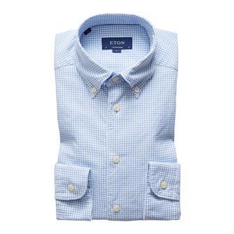 ETON pepita check semi-dress hemd