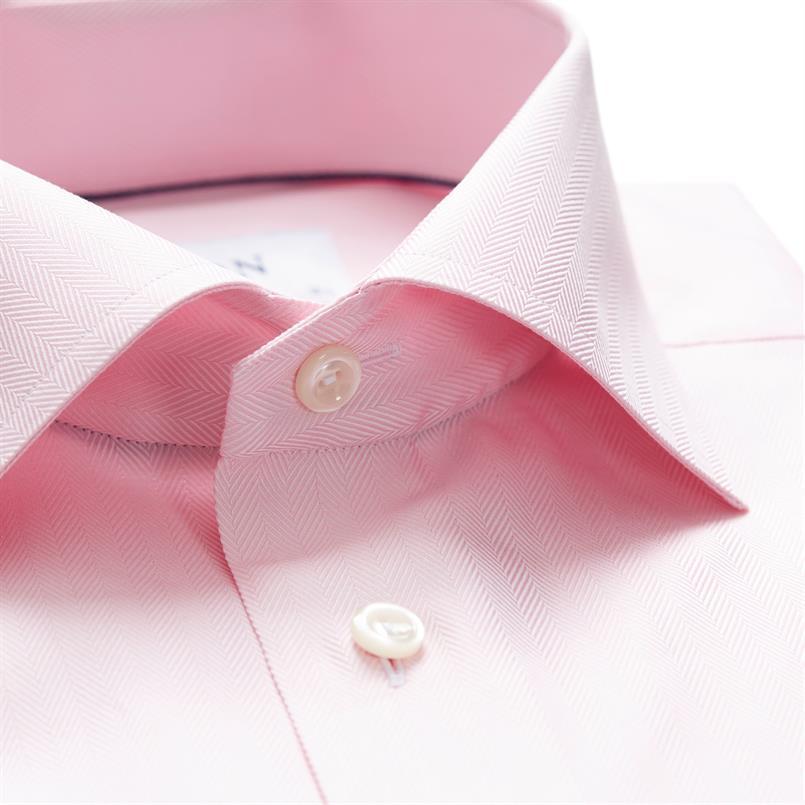ETON roze visgraat twill hemd