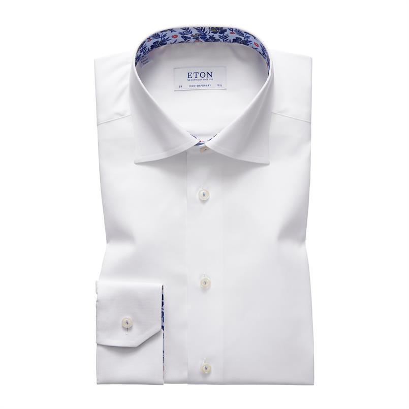 ETON wit twill hemd met bloemen details