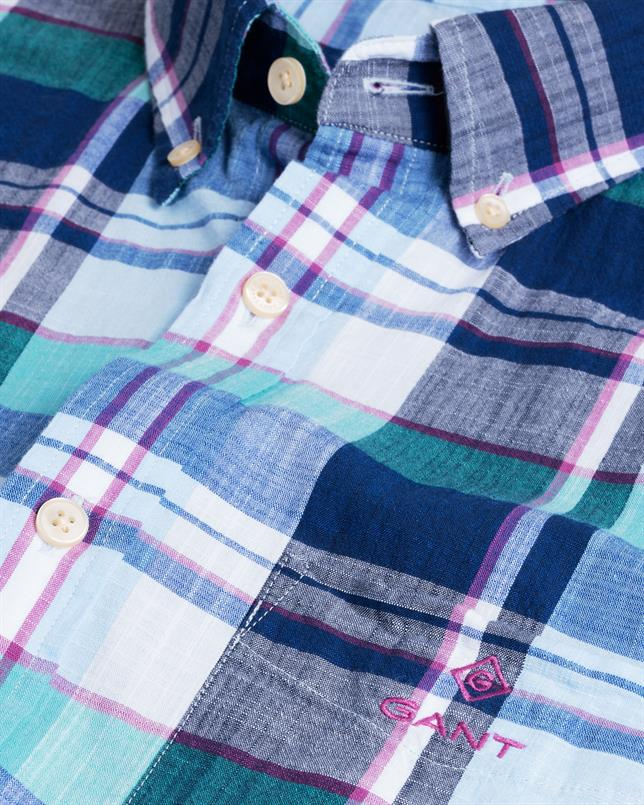 GANT Indigo geruit overhemd met korte mouwen in Regular Fit