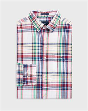 GANT Indigo geruit overhemd met lange mouwen in Regular Fit