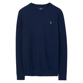 GANT Sweater met ronde hals en visgraatmotief