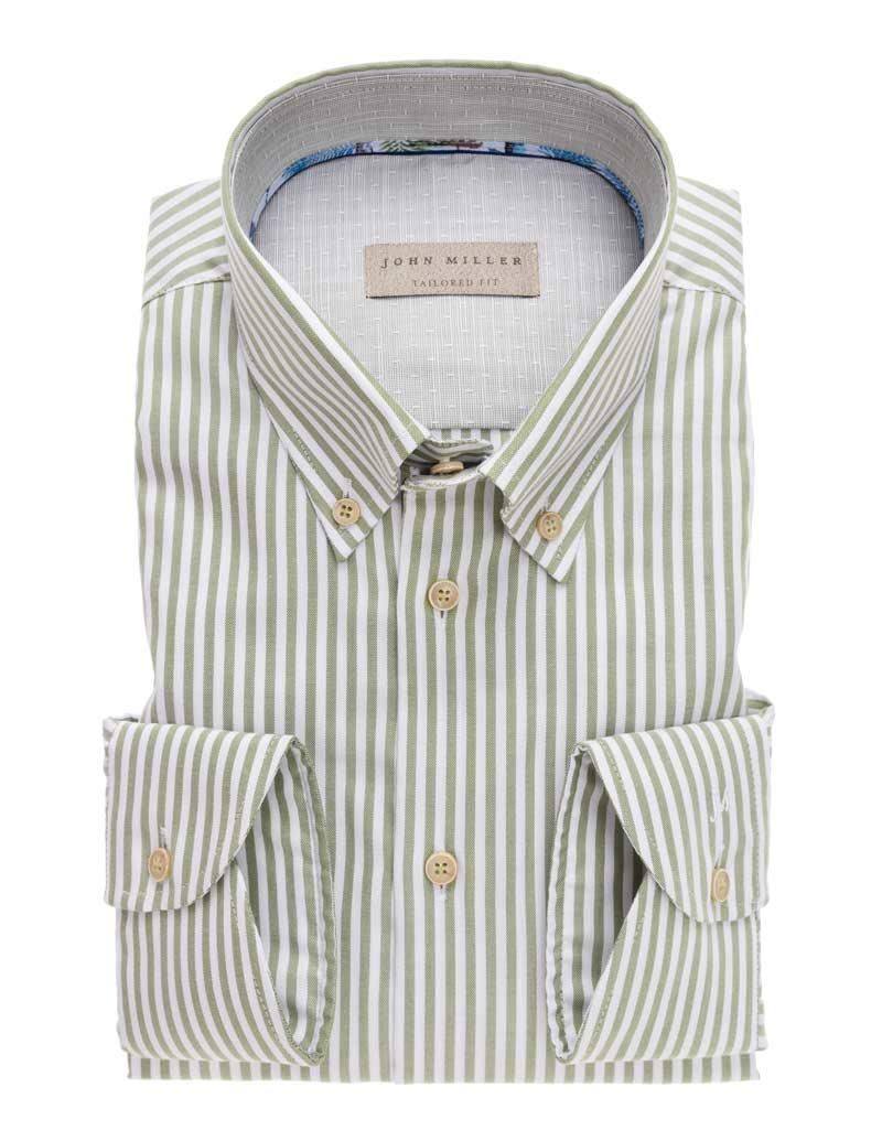 John Miller groen streep overhemd