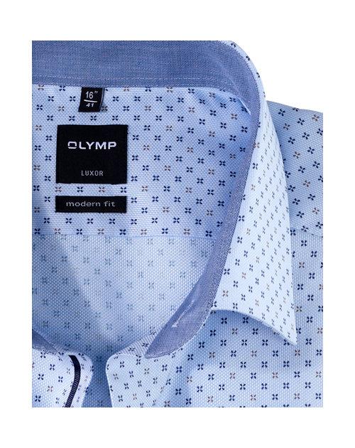 Olymp blauw beige luxor modern fit hemd