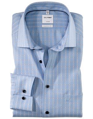 Olymp lichtblauw ruit luxor comfort fit hemd