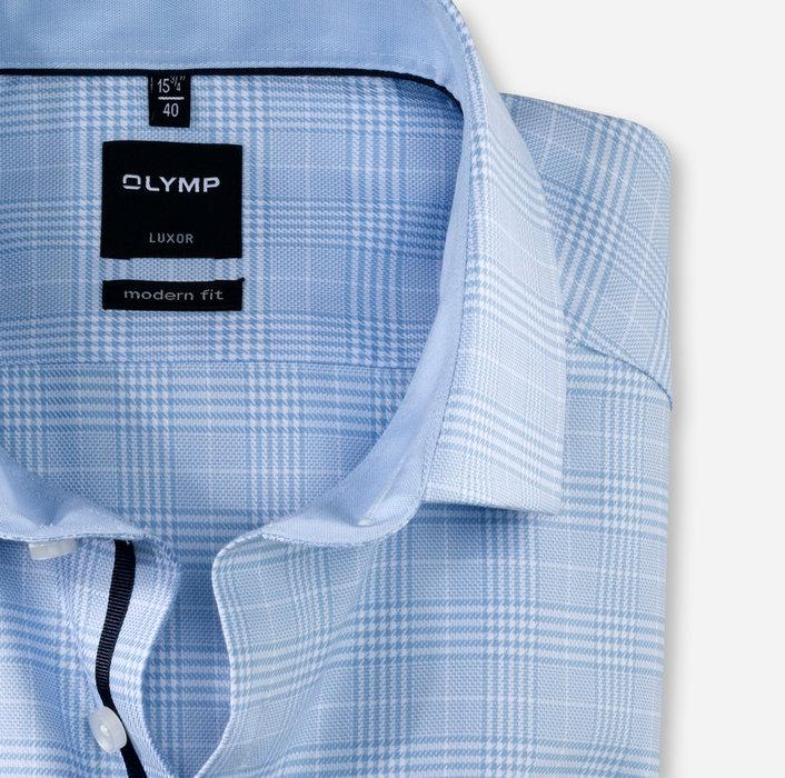 Olymp lichtblauw ruit luxor modern fit hemd