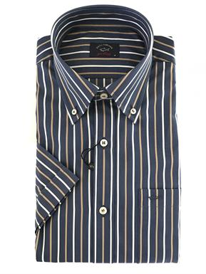 Paul & Shark Overhemd in blauw/beige/wit streep - korte mouw