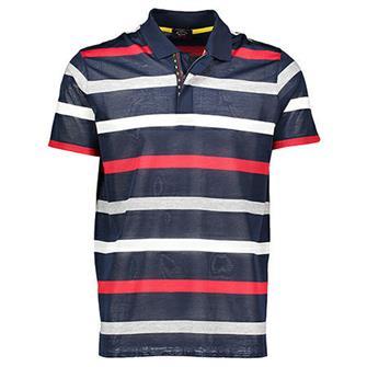 Paul & Shark Polo navy rood/wit/blauw gestreept korte mouw