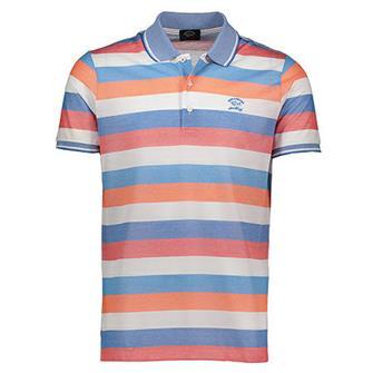 Paul & Shark Polo wit/oranje/blauw streep korte mouw
