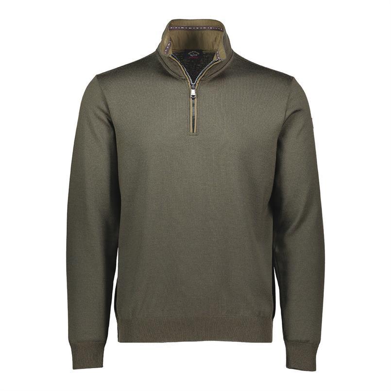 Paul & Shark Pullover/trui met zip in olijf A18P1513