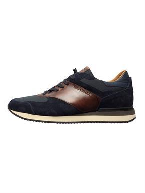 Paul & Shark Sneaker in navy met bruine streep