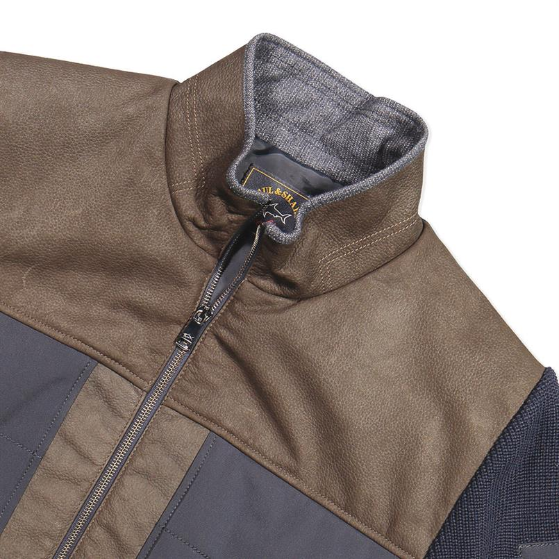 Paul & Shark Vest/jack met zip in leer/wol I18P1256